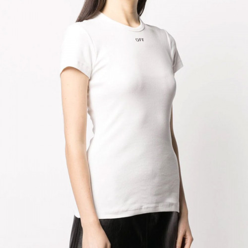 BASIC RIBBED TEE WHITE BLACK