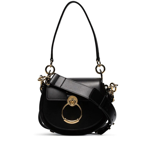 BLACK TESS SHOULDER BAGS